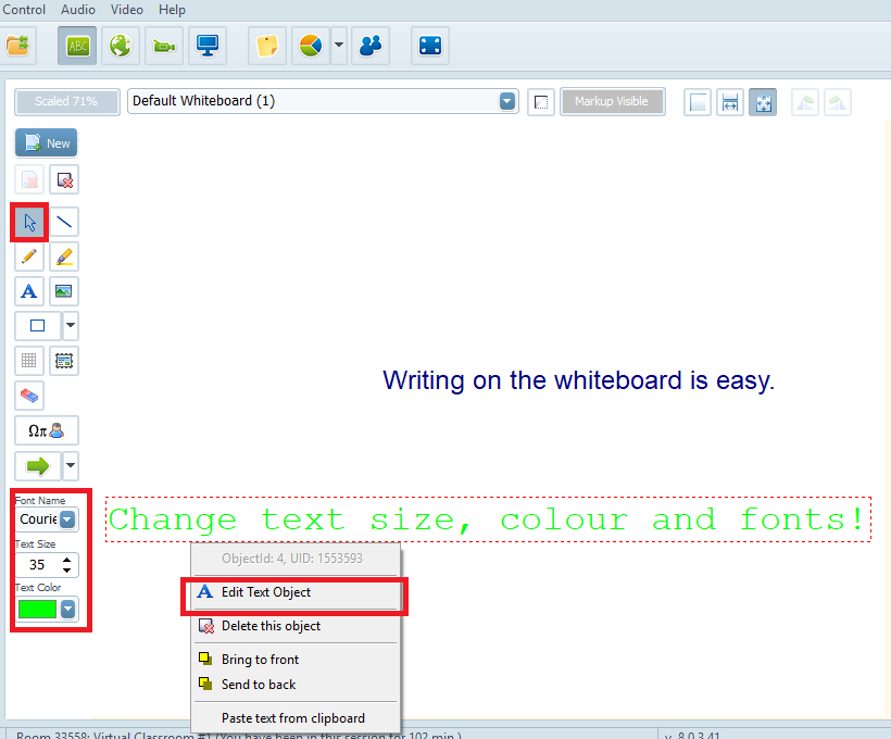 How to type/move text on the whiteboard?