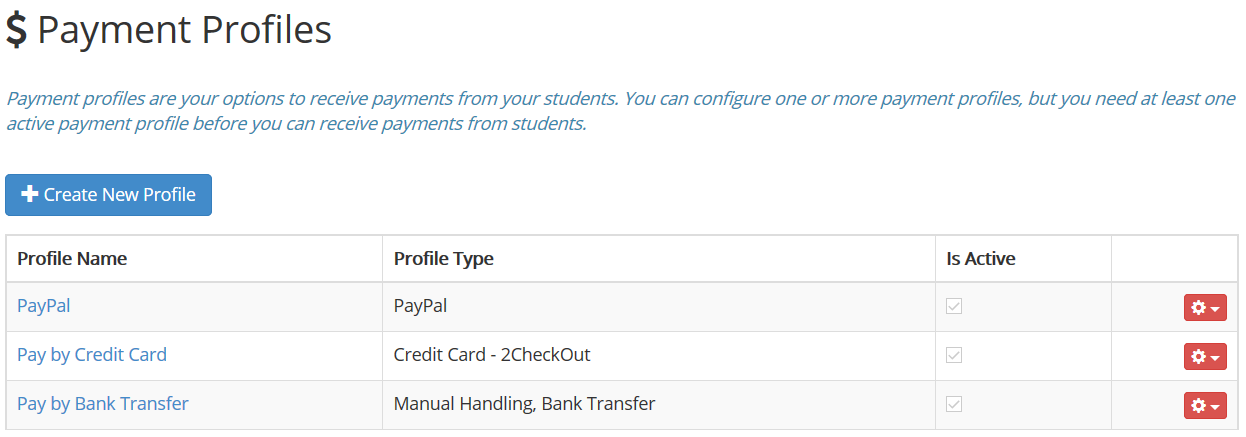 Managing Payment Profiles  Accepting Payments From Students