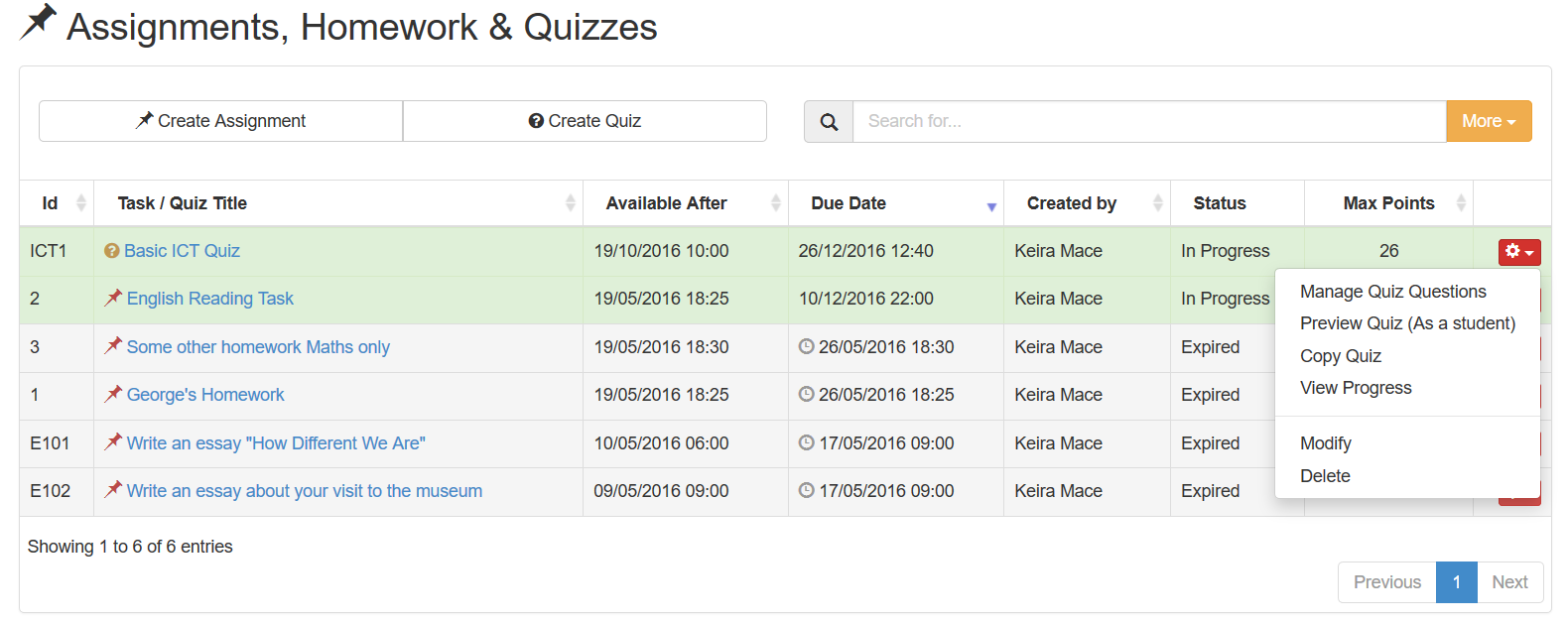 Create online quizzes then select modify to change the summary information or manage quiz questions to add remove or update the questions urtaz Image collections
